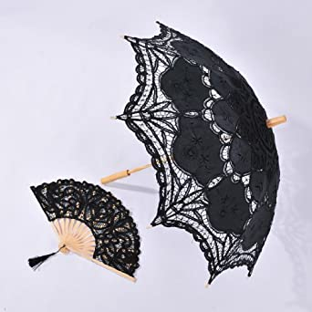 Artwedding Folding Hand Fan and Embroidery Cotton Wedding Parasol Umbrella in Black