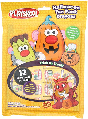 Playskool Halloween Fun Pack Trick or Treat Crayons. 12 Boxes of 4 Crayons with Stickers