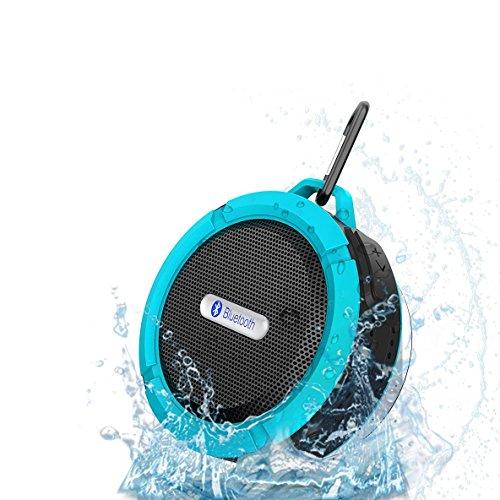 [アウトドア/お風呂に最適] QTuo 防水スピーカー 吸盤式Bluetooth3.0 小型なワイヤレススピーカー USBスピーカー iPhone/iPhone6/iPhone6plusなど対応なポータブルスピーカー マイク搭載(防水仕様) (ブルー)