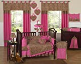 51oartzMXlL. SL160  Cheetah Animal print Pink and Brown Baby Girl Bedding 9pc Crib Set