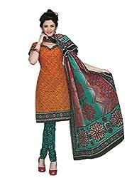 Araham Orange & Maroon Printed 100% Cotton Unstitched Salwar Suit Dress Material