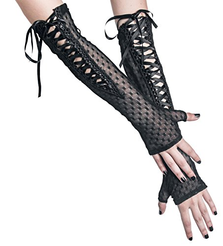 Gothicana by EMP Lace-Morticia Gloves Guanti senza dita nero one size