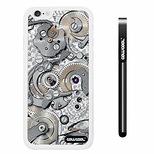 CowCool® Apple iphone 6 4.7 Inch Soft Silicone Gear tour machinery White Shell Single Layer Protective Case (#4)