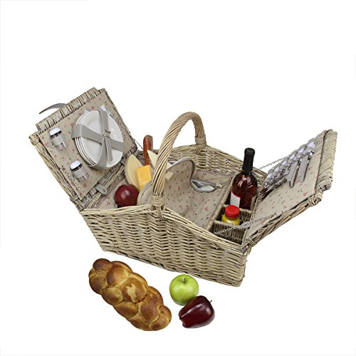 4 Person Insulated Picnic Basket : Person hand woven warm gray willow insulated picnic