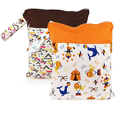 baby-wet-dry-bag-splice-cloth-diaper-waterproof-bags-with-zipper-snap-handle-pack-of-2-color-geometr