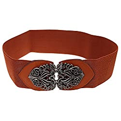 Generic Womens Ladies PU Leather Wide Embellished Elastic Buckle Waist Belt - brown, One Size