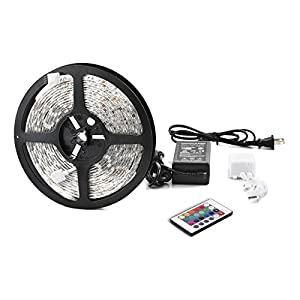 TaoTronics® RGB SMD Led Strip Light Kit(TT-SL001, 16.4ft, 150 LEDS, 24K remote & 60w Power Supply, Waterproof)