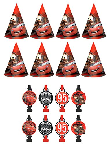 New-Disney-Cars-Birthday-Party-Favors-Pack-Including-Blowouts-and-Party-Cone-Hats-8-Guests