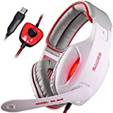 SADES SA902 7.1 USB Surround PC Gaming Headset Headphones With Microphone And LED (White And Red)