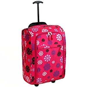 Karabar Super Lightweight Cabin Approved Luggage Bag 55 x 35 x 20 cm, 40 Litres, 1.5 kg, 3 Years Warranty! (Daisy Pink)