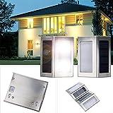 DBPOWER 2pcs LED Solar Powered Stainless Steel Staircase LED Solar Step Lights, Solar Dock Light 1.2V/600mAh AA Ni-MH (Warm White Light)