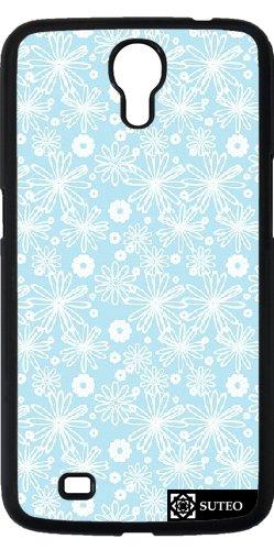 Hülle für Samsung Galaxy Mega 6.3 (GT-I9205) - Blumen-Muster Weiß und Blau - ref 496