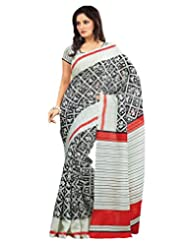 Inddus Exclusive Women Art Silk Printed Black Saree - B00NGDVTIK