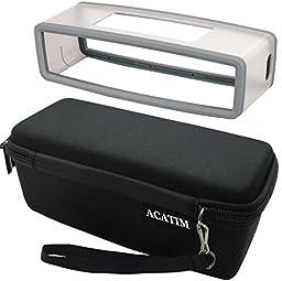 Acatim Hard Case Travel Bag Plus Soft Cover for Bose Soundlink Mini Bluetooth Portable Wireless Speaker 1 & II, Black/Gray