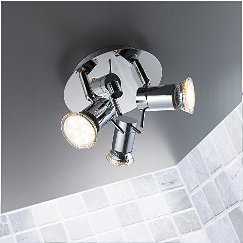 Merveilleux LED Bad Deckenleuchte Deckenlampe Schwenkbar Spritzwasser Geschützt IP44  Badlampe Badezimmer Leuchte Deckenstrahler Spotleuchte GU10 3 X 3W 250lm  Warmweiß ...