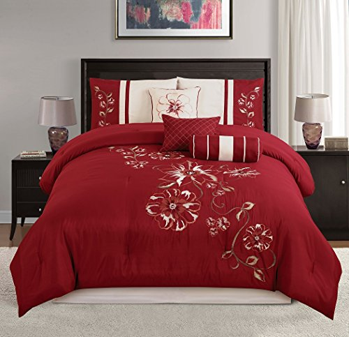 Chezmoi Collection 7-piece Red Floral Hibiscus Embroidery Beige Comforter Bedding Set (Queen)