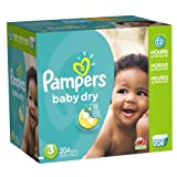 Pampers Baby Dry Diapers Size 3 Economy Pack Plus 204 Count (Packaging May Vary)
