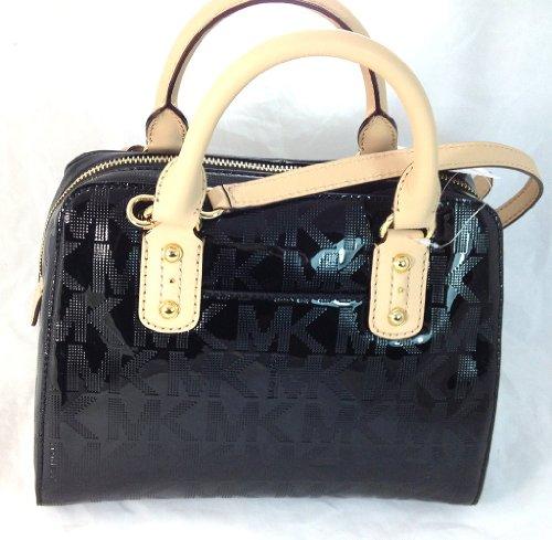 MICHAEL Michael KorsMichael Kors Black Gold Monogram Mirror Pvc Leather Small Satchel Bag Purse