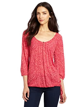 Lucky Brand Women's Paisley Tilly Top, Pink Multi, X-Small