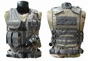 Tactical Crossdraw Military Cross Draw Vest w/Pistol Belt--ACU Camo