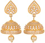 Violet and Purple Alloy Gold Plated Jhumki Earrings for Women (1000030545)