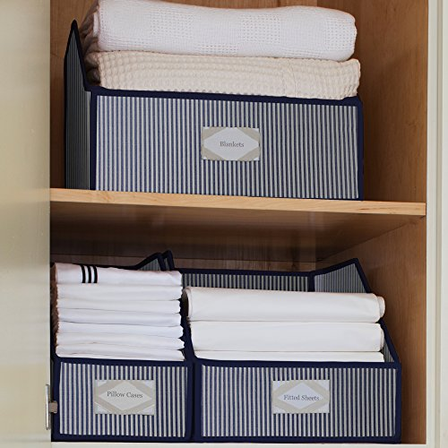 G.U.S. Striped Linen Closet Storage: Organize Sheets, Blankets, Towels, Wash Cloths, Sweaters and Other Closet Storage - Medium (Closet Maid Small Modular Drawer compare prices)