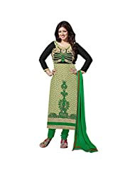 Sonal Trendz Green & Beige & Black Color Embroidery Semi-Stitched Suit.