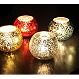 TiedRibbons® Gifts For Diwali T Light Holders Set Of 4(Glass, Multicolor) With Tealight Candles