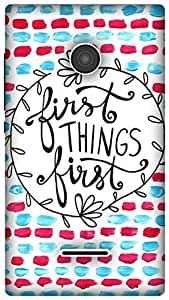 The Racoon Lean First Things First hard plastic printed back case / cover for Microsoft Lumia 435