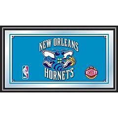 NBA New Orleans Hornets Logo Framed Mirror by Trademark Global