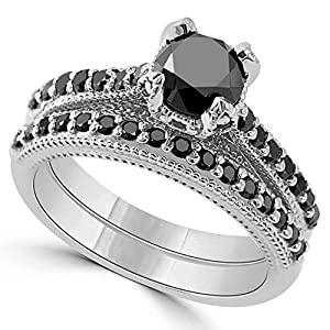 Pretty Jewellery Black Round Diamond Engagement Wedding Bridal Rings Set in White Gold Over Sterling Silver (5)