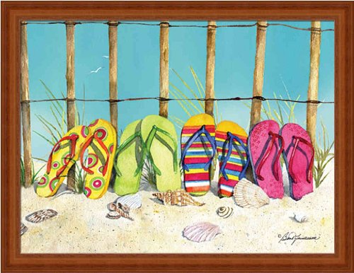 All A Row By Barb Tourtillotte Bright Flip Flops 17.25X13.25 Wall Art Print Framed Picture front-262528