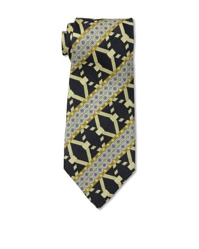 Celine Men's Pattern Stripe Tie, Navy Multi