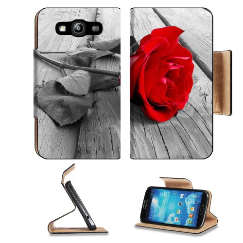 Red Rose Front And Center Samsung Galaxy S3 I9300 Flip Cover Case With Card Holder Customized Made To Order Support Ready Premium Deluxe Pu Leather 5 Inch (132Mm) X 2 11/16 Inch (68Mm) X 9/16 Inch (14Mm) Msd S Iii S 3 Professional Cases Accessories Open C