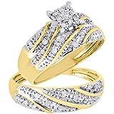 10k Yellow Gold Round Diamond Trio Set Matching Engagement Ring Wedding Band 0.27 Cttw