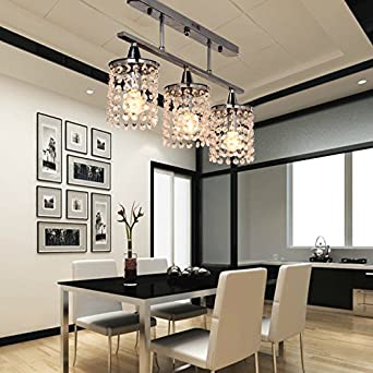 OOFAY LIGHT 3 Light Hanging Crystal Linear Chandelier With Solid Metal Fixtu