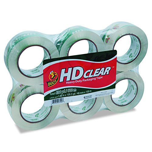 duck-brand-hd-clear-high-performance-packaging-tape-188-inch-x-1093-yard-crystal-clear-6-pack-299016