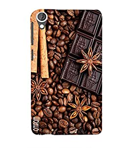 Omnam Coffee Beans And Choclates Lying Together Printed Designer Back Cover Case For HTC Desire 820