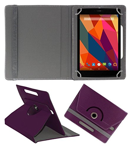 KOKO ROTATING 360° LEATHER FLIP CASE FOR Datawind UbiSlate 7C Plus TABLET STAND COVER HOLDER PURPLE