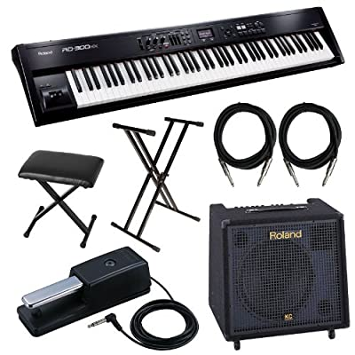 Roland RD-300NX Digital Piano with KC-550 Keyboard Amp, Bench, Stand, Sustain Pedal Cables Bundle by ROLAND