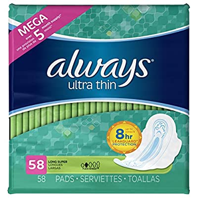 Always Ultra Thin Super Pads with Wings, 58-Count