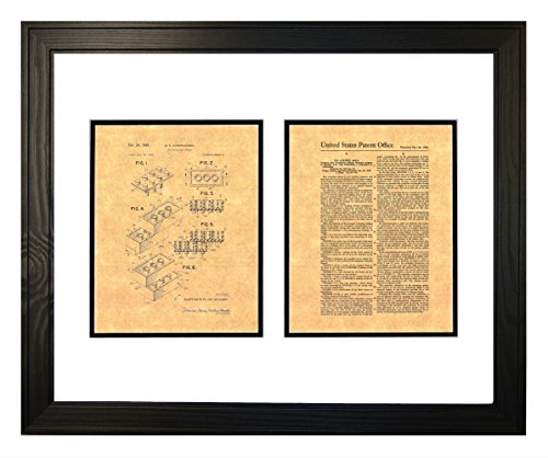 """Lego Toy Patent Art Print in a Solid Pine Wood Frame (20"""" x 24"""")"""