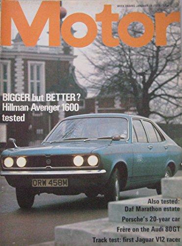 Motor magazine 19/1/1974 featuring Hillman Avenger road test, Jaguar, DAF 66, Audi