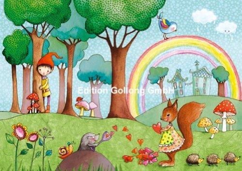 Postkarte MILA MARQUIS * Wichtel mit Maulwurf & Eichhörnchen