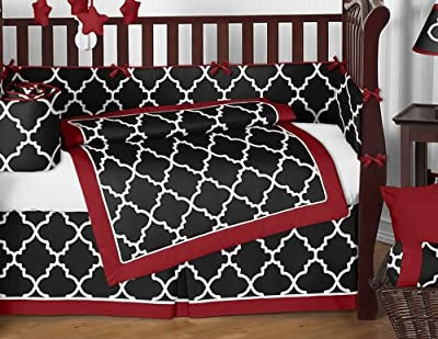 Red & Black Trellis Print 9 Piece Crib Bedding Set by Sweet Jojo Designs