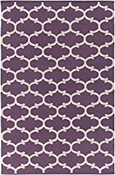 Purple Rug Modern Chic Design 9-Foot x 12-Foot Cotton Flat-Woven Trellis Dhurry