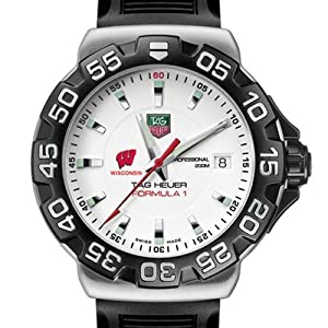 University of Wisconsin TAG Heuer Watch - Mens Formula 1 Watch with Rubber Strap by TAG Heuer