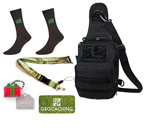 Geocaching Set regalo da 5pezzi Geocaching zaino, Set Grounds Peak calzini, Lanyard, Travelbug Traveltag Patch Natale