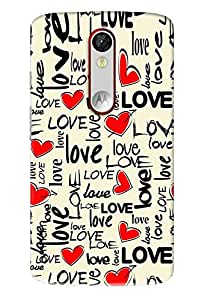 Omnam Love Pattern With Red Hearts\ Printed Designer Back Cover Case For Motorola Moto X Force