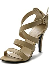 Ollio Women's Shoe High Heel Cross Strap Sandal
